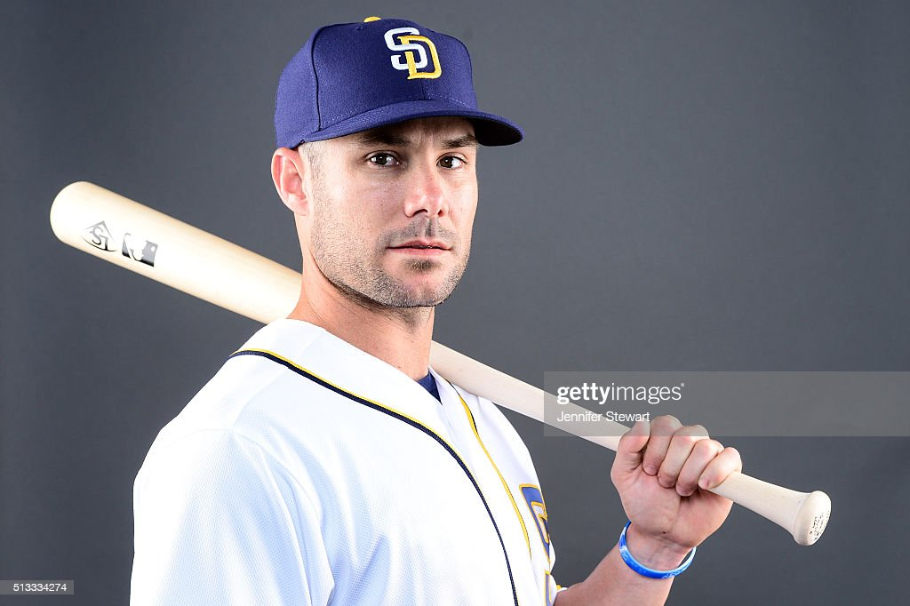 Outfielder Skip Schumaker of the San Diego Padres poses for a portrait during spring training photo day at Peoria Sports Complex on February 26 2016...