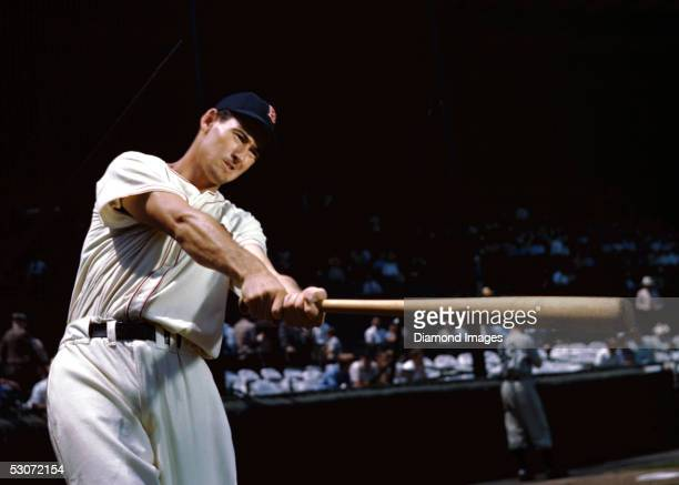 Outfielder Ted Williams of the Boston Red Sox poses for an action portrait during a Spring Training in March 1950 in Sarasota Florida