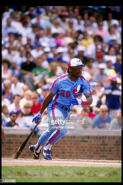 Outfielder Tim Raines of the Montreal Expos drops his bat and prepares to run