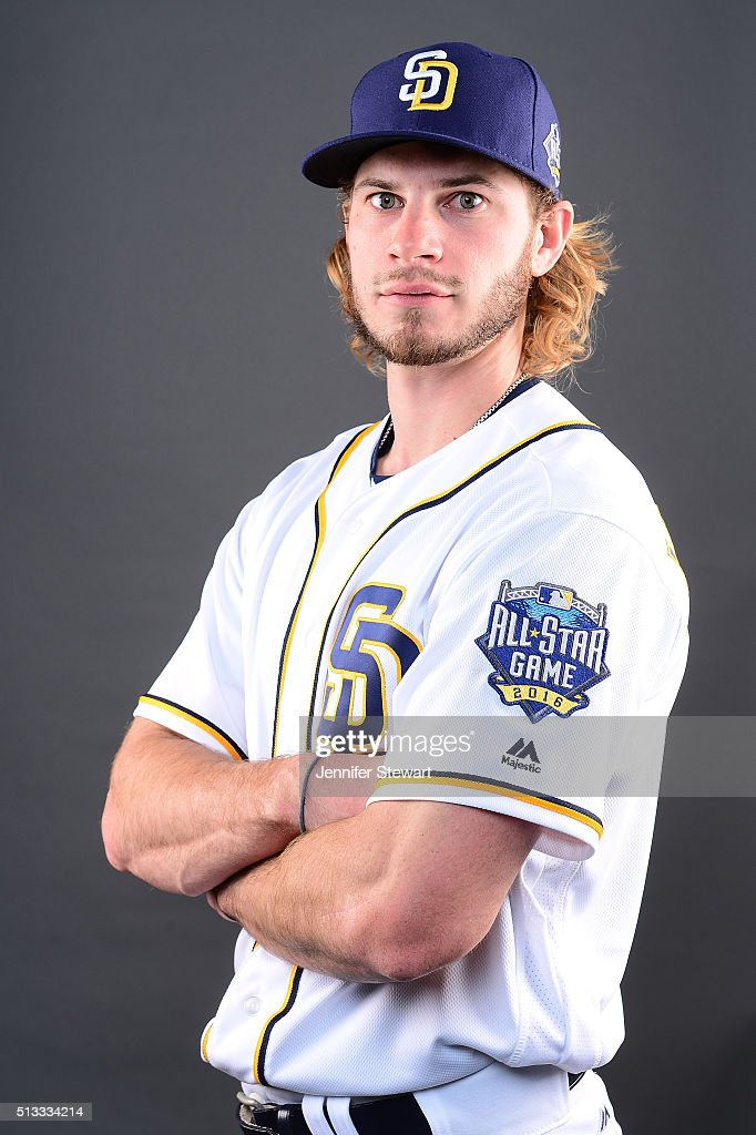 b08bbf8bff6 ... Jersey Outfielder Travis Jankowski 16 of the San Diego Padres poses for  a portrait during spring ...