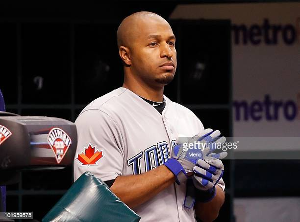 Outfielder Vernon Wells of the Toronto Blue Jays prepares to bat against the Tampa Bay Rays during the game at Tropicana Field on June 8 2010 in St...