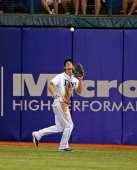 Outfielder Wil Myers of the Tampa Bay Rays catches a fly ball against the Minnesota Twins during the game at Tropicana Field on July 8 2013 in St...