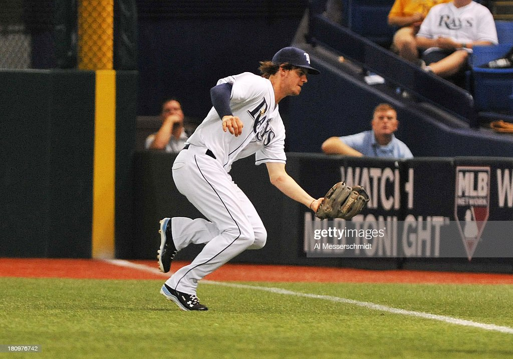 Outfielder Wil Myers #9 of the Tampa Bay Rays catches a fly ball down the right field line against the Texas Rangers September 18, 2013 at Tropicana Field in St. Petersburg, Florida.