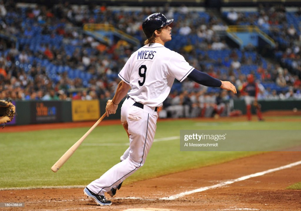 Outfielder Wil Myers #9 of the Tampa Bay Rays doubles in the 8th inning to drive in the winning run against the Boston Red Sox September 12, 2013 at Tropicana Field in St. Petersburg, Florida. The Rays won 4 - 3.