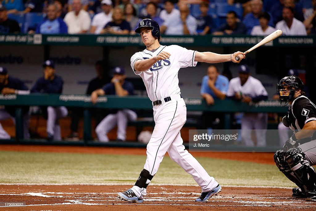 Outfielder <a gi-track='captionPersonalityLinkClicked' href=/galleries/search?phrase=Wil+Myers&family=editorial&specificpeople=7562808 ng-click='$event.stopPropagation()'>Wil Myers</a> #9 of the Tampa Bay Rays fouls off a second-inning pitch against the Chicago White Sox during the game at Tropicana Field on July 5, 2013 in St. Petersburg, Florida.