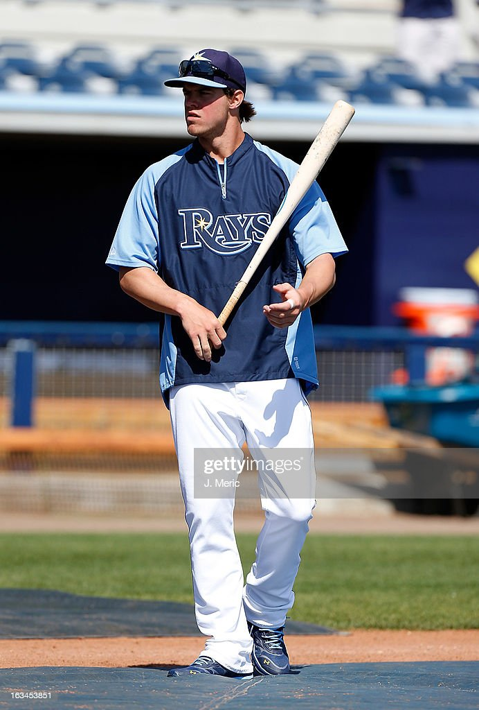Outfielder Wil Myers #60 of the Tampa Bay Rays warms up during batting practice just before the Grapefruit League Spring Training Game against the Boston Red Sox at the Charlotte Sports Complex on March 10, 2013 in Port Charlotte, Florida.