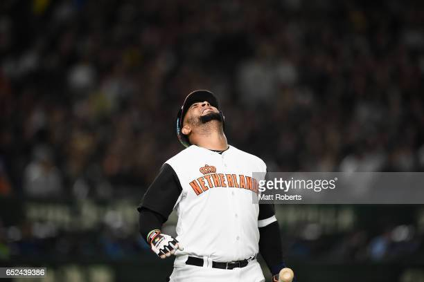 Outfielder Wladimir Balentien of the Netherlands shows dejection after a strikeout in the bottom of the seventh inning during the World Baseball...
