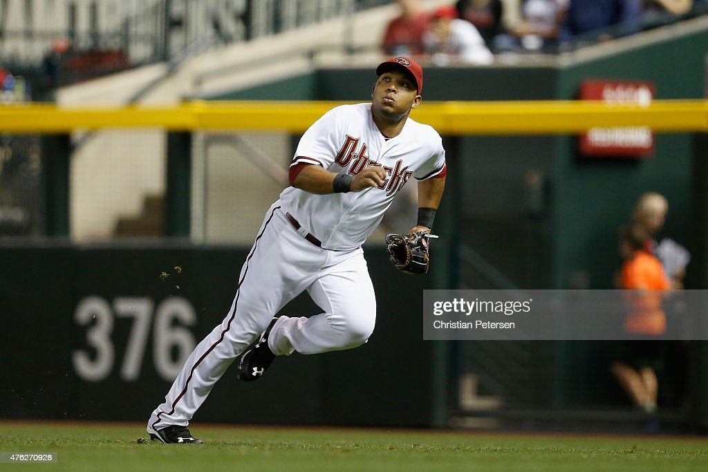 Outfielder Yasmany Tomas #24 of the Arizona Diamondbacks in action during the MLB game against the New York Mets at Chase Field on June 5, 2015 in Phoenix, Arizona. The Diamondbacks defeated the Mets 7-2.