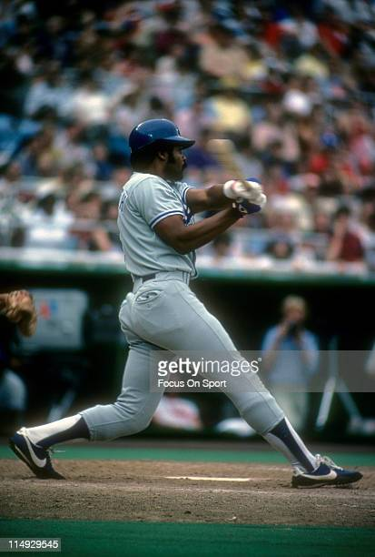 Outfielder/First Baseman Reggie Smith of the Los Angeles Dodgers swings and watches the flight of his ball during a Major League Baseball game circa...