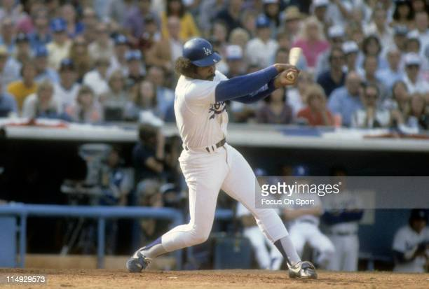 Outfielder/First Baseman Reggie Smith of the Los Angeles Dodgers swings at a pitch during a Major League Baseball game circa 1978 at Dodgers Stadium...