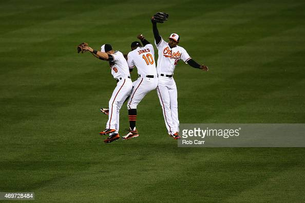 Outfielders David Lough Adam Jones and Alejandro De Aza of the Baltimore Orioles celebrate following the Orioles 43 win over the New York Yankees at...