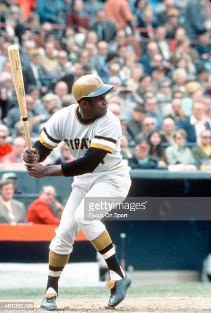 Outfielders Roberto Clemente' #21 of the Pittsburgh Pirates bats against the Baltimore Orioles during the 1971 World Series circa 1971 at Memorial...