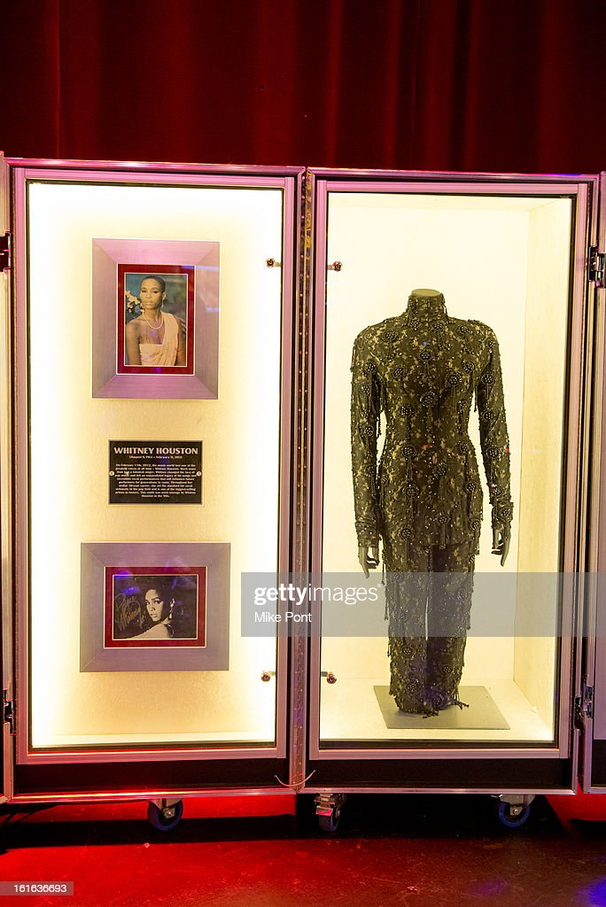 Outfit worn by Whitney Houston on display at Hard Rock's 'Gone Too Soon' and 'Music Gives Back' Media Preview Day at Hard Rock Cafe New York on February 13, 2013 in New York City.