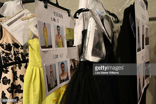 Outfits are seen backstage ahead of the Oscar de la Renta show presented by Etihad Airways at MercedesBenz Fashion Week Resort 17 Collections at...