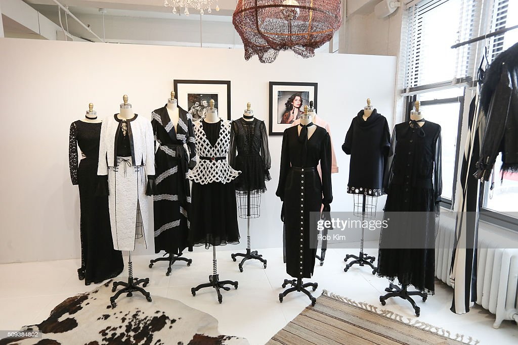 Outfits on display at Houghton presentation during Fall 2016 New York Fashion Week at Houghton Atelier on February 10, 2016 in New York City.