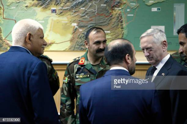 Outgoing Afghanistan Defense Minister Abdullah Habibi who resigned his post earlier in the day attends a meeting with US Defense Secretary James...