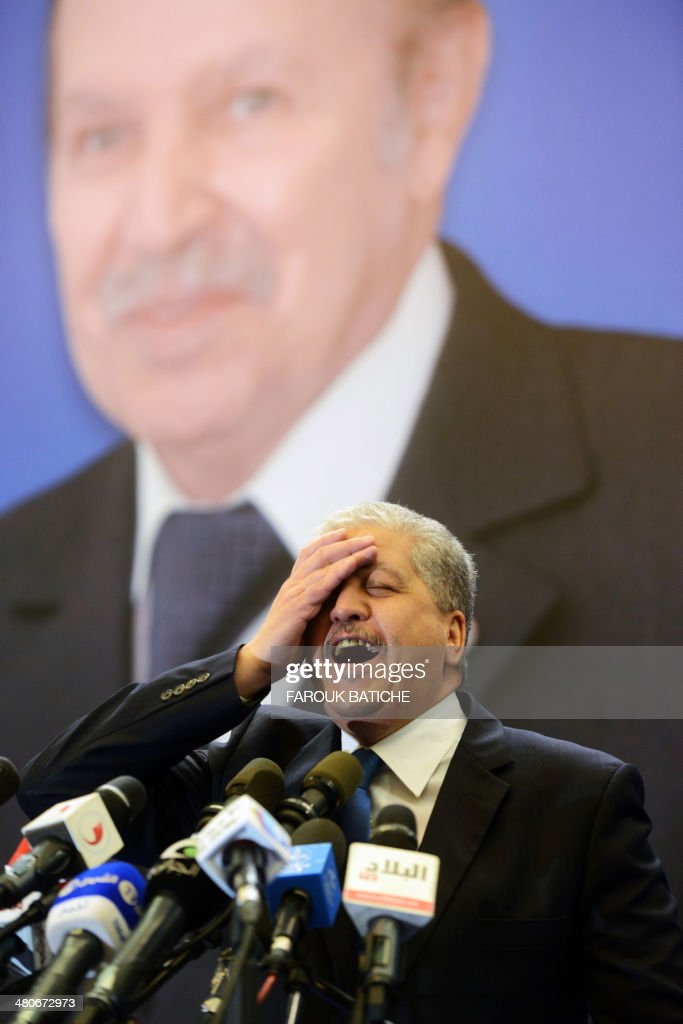 Outgoing Algerian premier and newly appointed Algerian president's campaign manager <a gi-track='captionPersonalityLinkClicked' href=/galleries/search?phrase=Abdelmalek+Sellal&family=editorial&specificpeople=3196882 ng-click='$event.stopPropagation()'>Abdelmalek Sellal</a> speaks during a political meeting in the city of Tlemcen, some 600 km west of Algiers, ahead of next month's presidential election. Algeria's leader Abdelaziz Bouteflika who is running for re-election appointed Energy Minister Youcef Yousfi as interim premier while outgoing Sellal was tasked with running the ailing president's campaign.