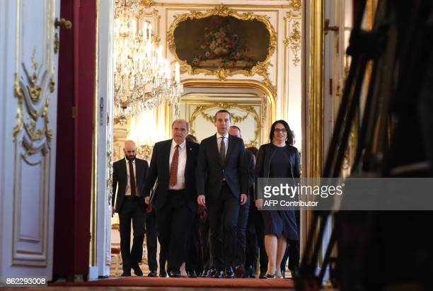 Outgoing Austrian Chancellor Christian Kern arrives with ministers to the office of the Austrian President as Austria's outgoing government formally...