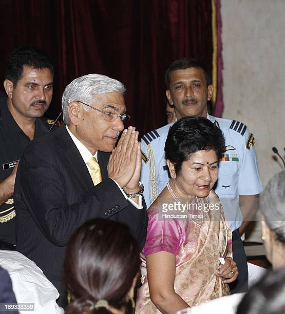 Outgoing CAG Vinod Rai with his wife during oath ceremony of Comptroller and Auditor General of India at a ceremony at Rashtrapati Bhavan on May 23...