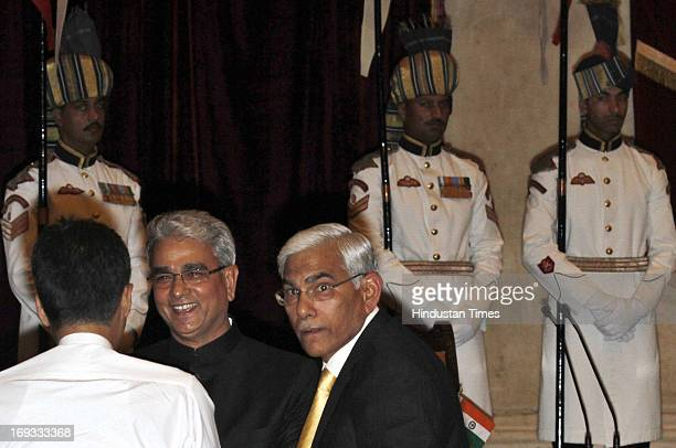 Outgoing CAG Vinod Rai with Shashi Kant Sharma before he took oath as Comptroller and Auditor General of India at a ceremony at Rashtrapati Bhavan on...