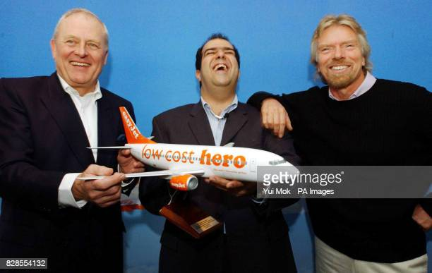 Outgoing Chairman and director of easyJet Stelios HajiIoannau during a press conference with his successor Sir Colin Chandler previously the Deputy...