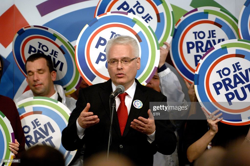 Outgoing croatian president <a gi-track='captionPersonalityLinkClicked' href=/galleries/search?phrase=Ivo+Josipovic&family=editorial&specificpeople=6599425 ng-click='$event.stopPropagation()'>Ivo Josipovic</a> addresses his supporters after the first results of the Croatian presidential elections' first round on December 28, 2014 in Zagreb. Croatia's President <a gi-track='captionPersonalityLinkClicked' href=/galleries/search?phrase=Ivo+Josipovic&family=editorial&specificpeople=6599425 ng-click='$event.stopPropagation()'>Ivo Josipovic</a> and his conservative rival headed for a January run-off following a tight first round vote in a country battling a severe economic crisis.