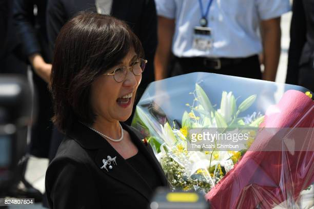 Outgoing Defense Minister Tomomi Inada is seen on departure at the Defense Ministry on July 31 2017 in Tokyo Japan