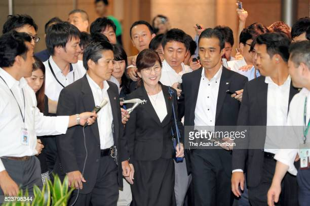Outgoing Defense Minister Tomomi Inada leaves the Defense Ministry on July 28 2017 in Tokyo Japan Prime Minister Shinzo Abe plans to reshuffle his...