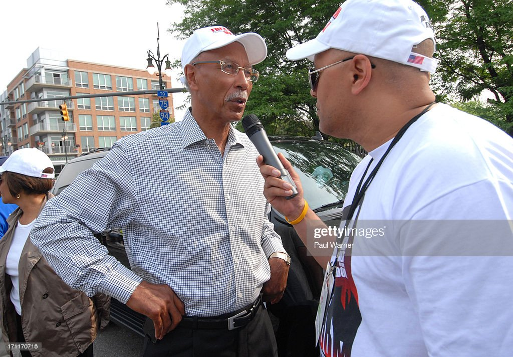 Outgoing Detroit Mayor <a gi-track='captionPersonalityLinkClicked' href=/galleries/search?phrase=Dave+Bing&family=editorial&specificpeople=589690 ng-click='$event.stopPropagation()'>Dave Bing</a> is interviewed at the 50th Anniversary Freedom March on June 22, 2013 in Detroit, Michigan.