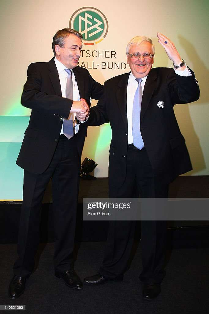 Outgoing DFB president Theo Zwanziger (R) and designated successor Wolfgang Nierbsch pose during the DFB federal meeting at Steigenberger Airport Hotel on March 2, 2012 in Frankfurt am Main, Germany.