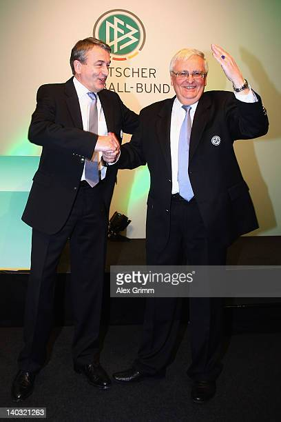 Outgoing DFB president Theo Zwanziger and designated successor Wolfgang Nierbsch pose during the DFB federal meeting at Steigenberger Airport Hotel...