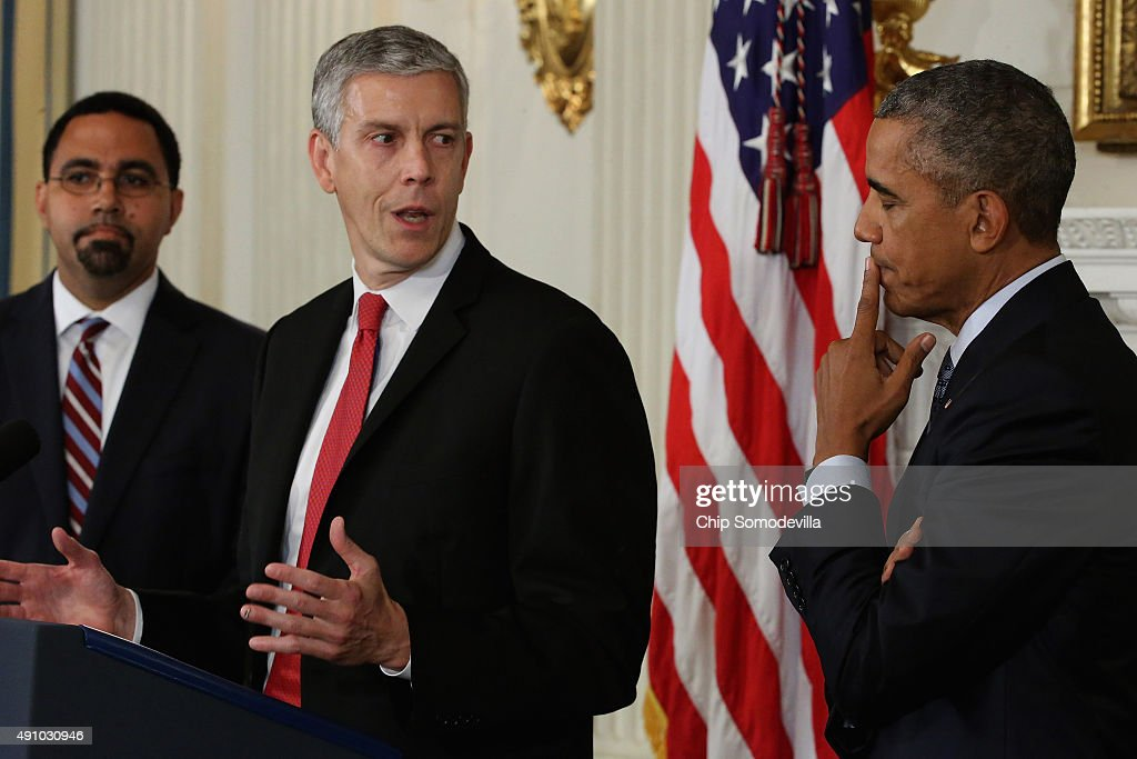Outgoing Education Secretary <a gi-track='captionPersonalityLinkClicked' href=/galleries/search?phrase=Arne+Duncan&family=editorial&specificpeople=3049193 ng-click='$event.stopPropagation()'>Arne Duncan</a> (C) delivers remarks after U.S. President <a gi-track='captionPersonalityLinkClicked' href=/galleries/search?phrase=Barack+Obama&family=editorial&specificpeople=203260 ng-click='$event.stopPropagation()'>Barack Obama</a> (C) announced his nomination of Deputy Education Secretary John B. King Jr. (L) to be the next head of the Education Department in the State Dining Room at the White House October 2, 2015 in Washington, DC. Obama praised the work of Duncan, one of the few remaining members of the president's original cabinet.
