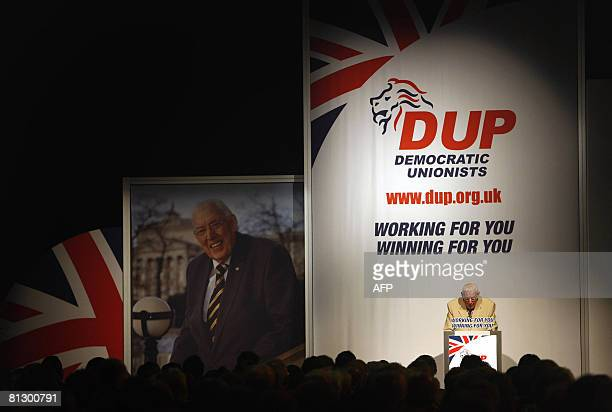 Outgoing First Minister for Northern Ireland and Democratic Unionist Party Leader Dr Ian Paisley delivers his farewell speech at Balmoral Hall in...