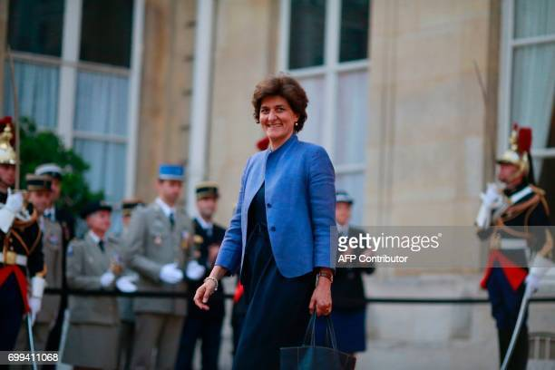 Outgoing French Defence Minister Sylvie Goulard leaves following the official handover ceremony at the Hotel de Brienne in Paris on June 21 2017 /...