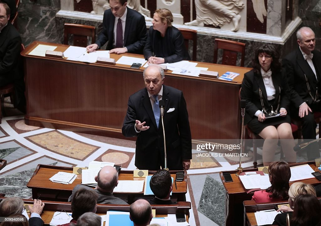 Outgoing French Foreign Minister Laurent Fabius talks during the questions to the government at the National Assembly in Paris on February 10, 2016. French lawmakers were to vote on February 10 on a controversial package of measures to change the constitution following the terror attacks on Paris in November. / AFP / JACQUES DEMARTHON
