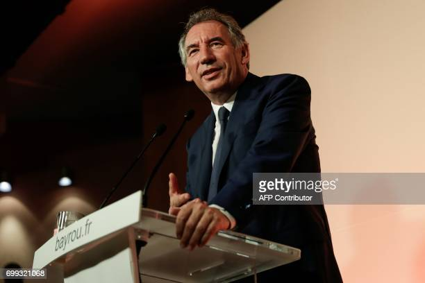Outgoing French Minister of Justice and Leader of the French MoDem centrist party Francois Bayrou addresses media representatives during a press...