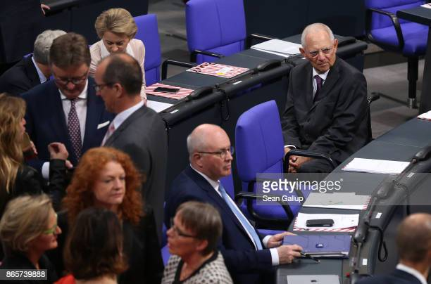 Outgoing German Finance Minister Wolfgang Schaeuble who was later elected new President of the Bundestag attends the opening session of the new...