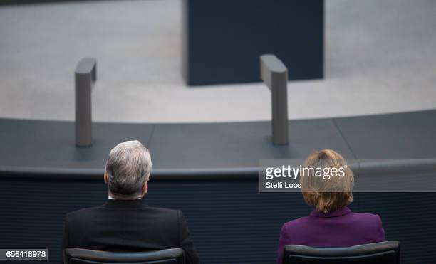 Outgoing German President Joachim Gauck and his partner Daniela Schadt attend the swearingin of new President FrankWalter Steinmeier on March 22 2017...