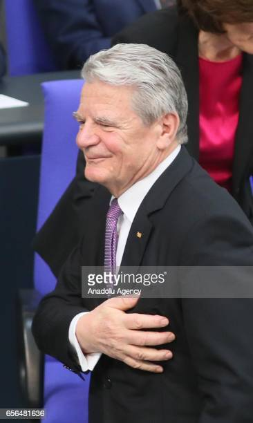 Outgoing German President Joachim Gauck attends the swearingin ceremony of new President FrankWalter Steinmeier on March 22 2017 at Bundestag in...