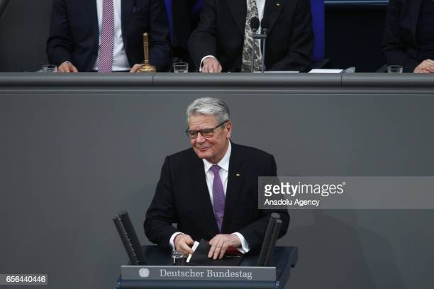 Outgoing German President Joachim Gauck delivers a speech during swearingin ceremony of new President FrankWalter Steinmeier on March 22 2017 at...