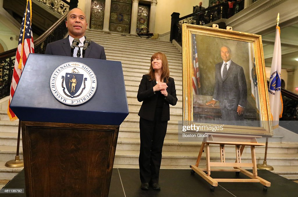 Outgoing Governor Deval Patrick addresses supporters during a State House reception after his portrait was unveiled on Sunday January 4 2015