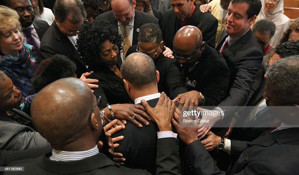 Outgoing Governor Deval Patrick attends the last of his monthly prayer meetings with area religious leaders at Roxbury Presbyterian Church Later he...