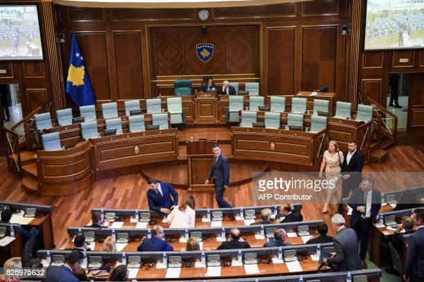 Outgoing head of the Kosovo Parliament Kadri Veseli arrives for a parliament session in Pristina on August 3 2017 Kosovo parliament failed on August...