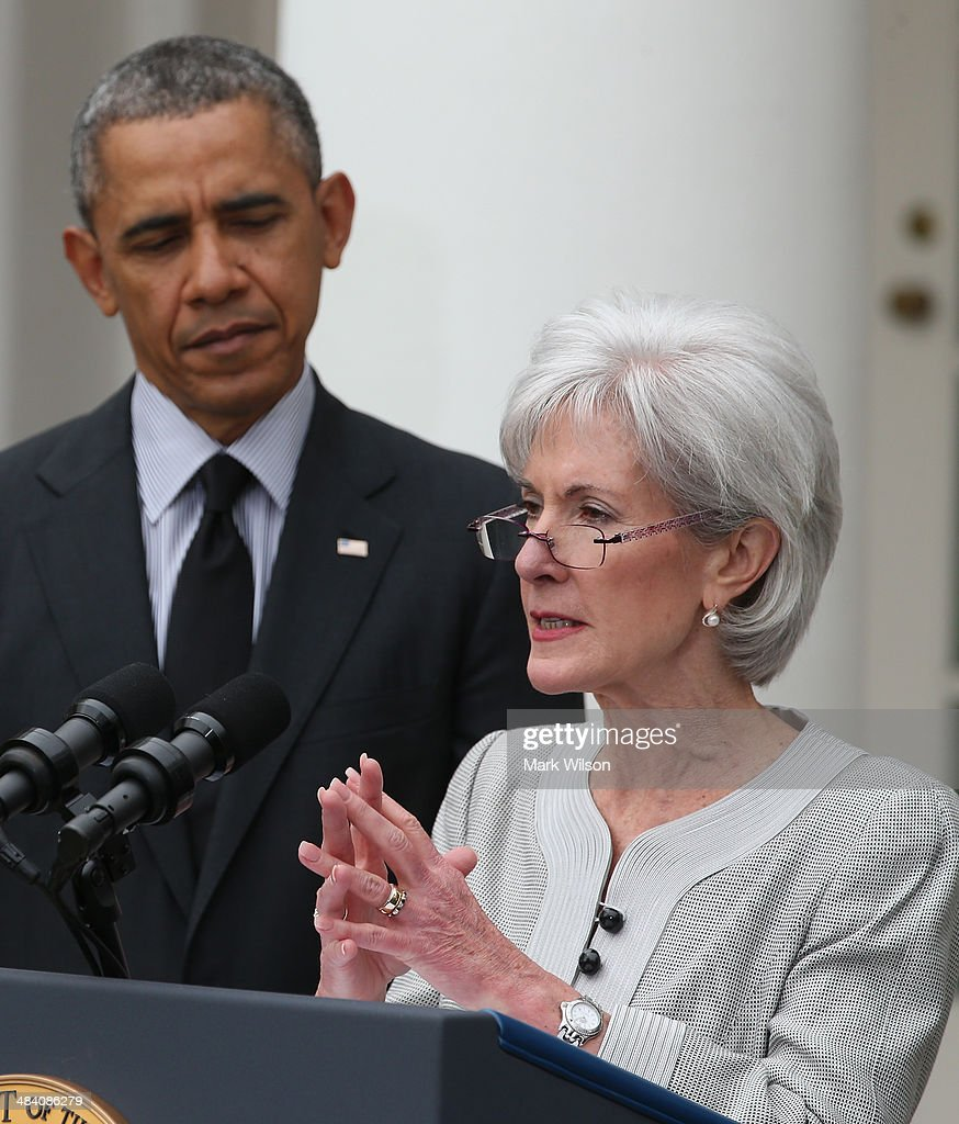 Outgoing Health and Human Services Secretary <a gi-track='captionPersonalityLinkClicked' href=/galleries/search?phrase=Kathleen+Sebelius&family=editorial&specificpeople=700528 ng-click='$event.stopPropagation()'>Kathleen Sebelius</a> speaks while U.S. President <a gi-track='captionPersonalityLinkClicked' href=/galleries/search?phrase=Barack+Obama&family=editorial&specificpeople=203260 ng-click='$event.stopPropagation()'>Barack Obama</a> listens during an event in the Rose Garden at the White House, on April 11, 2014 in Washington, DC. President Obama announced his nomination of Director of the White House Office of Management and Budget Sylvia Mathews Burwell to succeed Sebelius as Secretary.