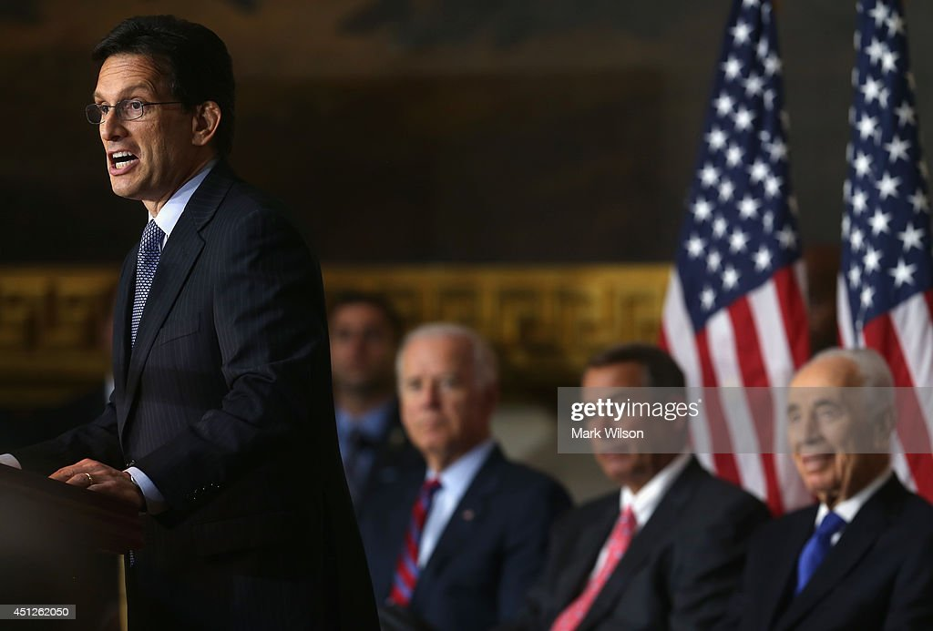 Outgoing House Majority Leader <a gi-track='captionPersonalityLinkClicked' href=/galleries/search?phrase=Eric+Cantor&family=editorial&specificpeople=653711 ng-click='$event.stopPropagation()'>Eric Cantor</a> (R-VA)(L) speaks while Israeli President <a gi-track='captionPersonalityLinkClicked' href=/galleries/search?phrase=Shimon+Peres&family=editorial&specificpeople=201775 ng-click='$event.stopPropagation()'>Shimon Peres</a> (R), House Speaker <a gi-track='captionPersonalityLinkClicked' href=/galleries/search?phrase=John+Boehner&family=editorial&specificpeople=274752 ng-click='$event.stopPropagation()'>John Boehner</a> (R-OH) (C), U.S. Vice President <a gi-track='captionPersonalityLinkClicked' href=/galleries/search?phrase=Joseph+Biden&family=editorial&specificpeople=206897 ng-click='$event.stopPropagation()'>Joseph Biden</a> (2ndL) listen during a Congressional Gold Medal ceremony at the U.S. Capitol, June 26, 2014 in Washington, DC. President Peres was pressented with the Congressional Gold Medal which recognizes those who have performed an achievement that has an impact on American history and culture. Photo by Mark Wilson/Getty Images)