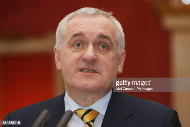 Outgoing Irish premier Bertie Ahern speaks during a meeting at Dublin Castle which forms part of a series of events to mark the 10th anniversary of...