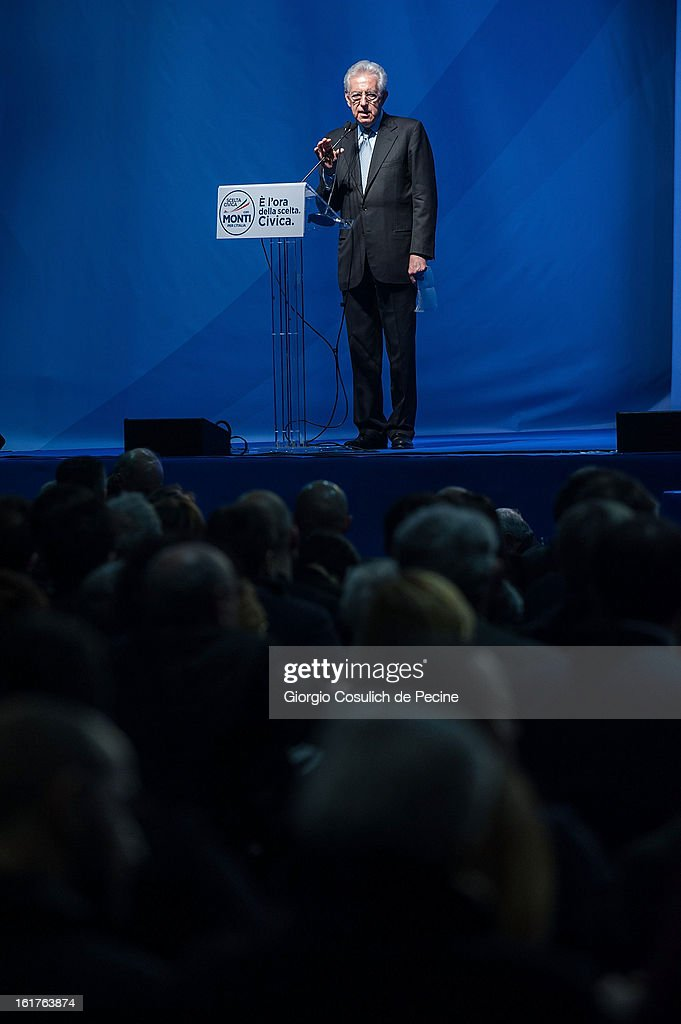 ÊOutgoing Italian Prime Minister Mario Monti delivers a speech during a campaign rally for his centrist alliance 'With Monit For Italy' (Con Monti Per L'Italia) and the 'Civic Choice' (Scelta Civica) moevemtn on February 15, 2013 in Rome, Italy. Italians will head to the polls on February 24 and 25 to to elect the new Italian Prime Minister.