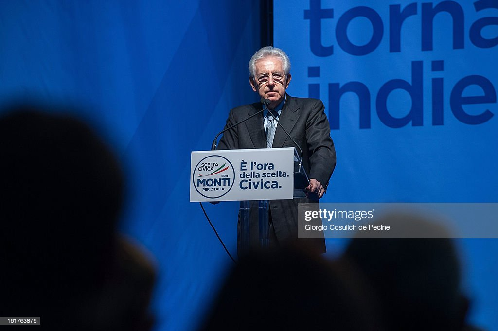 Outgoing Italian Prime Minister <a gi-track='captionPersonalityLinkClicked' href=/galleries/search?phrase=Mario+Monti&family=editorial&specificpeople=632091 ng-click='$event.stopPropagation()'>Mario Monti</a> delivers a speech during a campaign rally for his centrist alliance 'With Monit For Italy' (Con Monti Per L'Italia) and the 'Civic Choice' (Scelta Civica) moevemtn on February 15, 2013 in Rome, Italy. Italians will head to the polls on February 24 and 25 to to elect the new Italian Prime Minister.