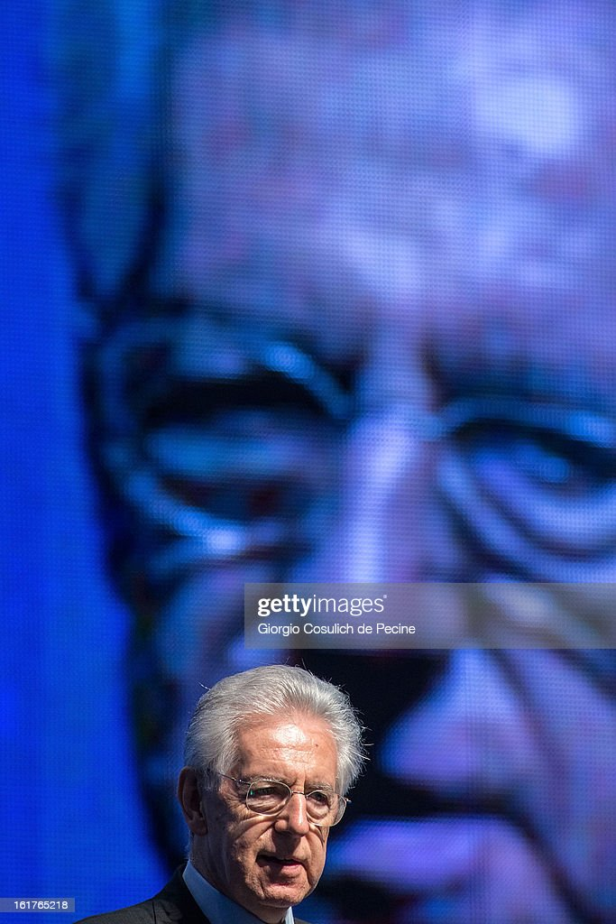 Outgoing Italian Prime Minister Mario Monti delivers a speech during a campaign rally for his centrist alliance 'With Monit For Italy' (Con Monti Per L'Italia) and the 'Civic Choice' (Scelta Civica) moevemtn on February 15, 2013 in Rome, Italy. Italians will head to the polls on February 24 and 25 to to elect the new Italian Prime Minister.