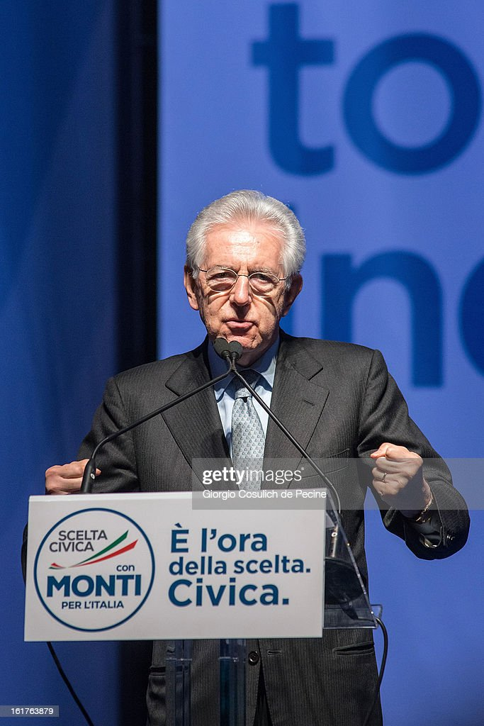 Outgoing Italian Prime Minister Mario Monti gestures as he delivers a speech during a campaign rally for his centrist alliance 'With Monit For Italy' (Con Monti Per L'Italia) and the 'Civic Choice' (Scelta Civica) moevemtn on February 15, 2013 in Rome, Italy. Italians will head to the polls on February 24 and 25 to to elect the new Italian Prime Minister.